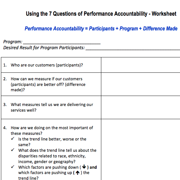 7 Questions of Performance Accountability