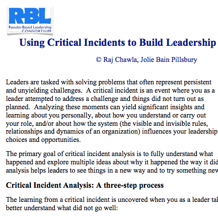 Critical Incidents to build leadership