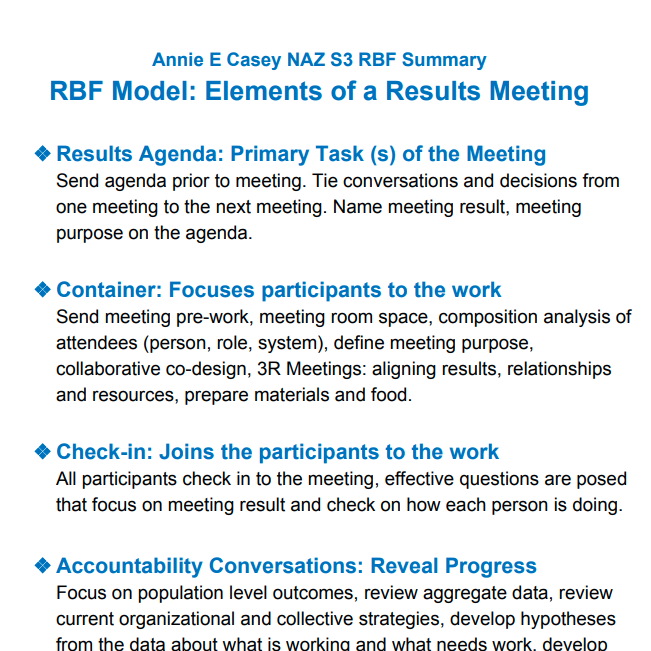 RBF Model: Elements of a Results Meeting