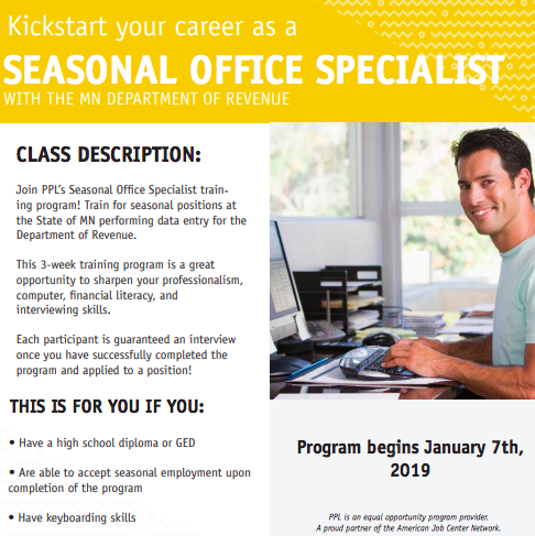 Seasonal Office Specialist for the Department of Revenue