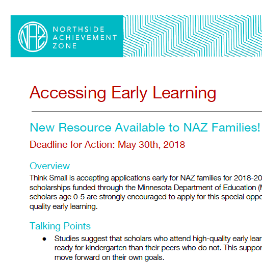 Accessing Early Learning - Logistics