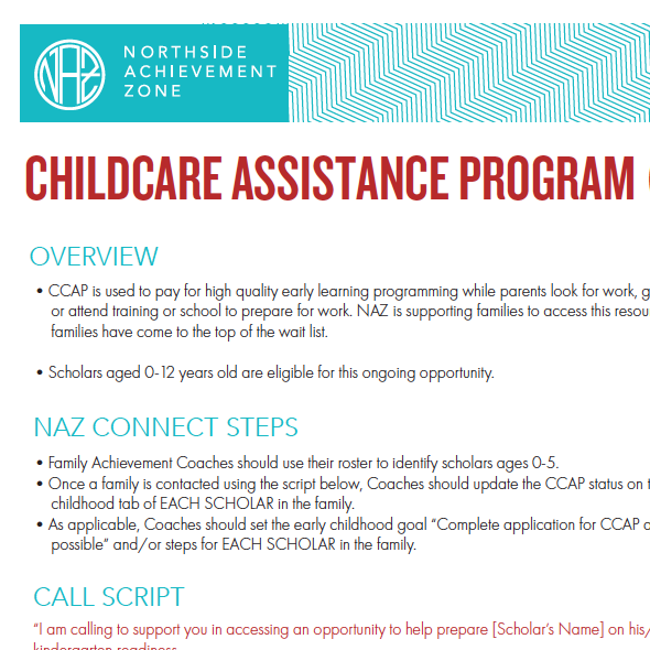 Childcare Assistance Program (CCAP)