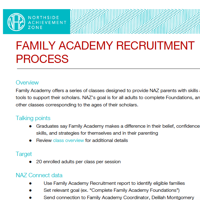 Family Academy Recruitment Process
