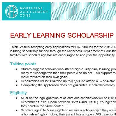 Early Learning Scholarship Logistics