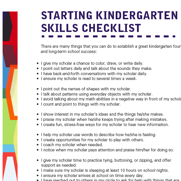 Starting Kindergarten Skills Checklist