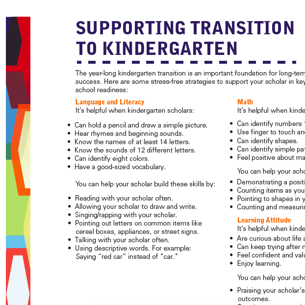 Supporting Transition to Kindergarten